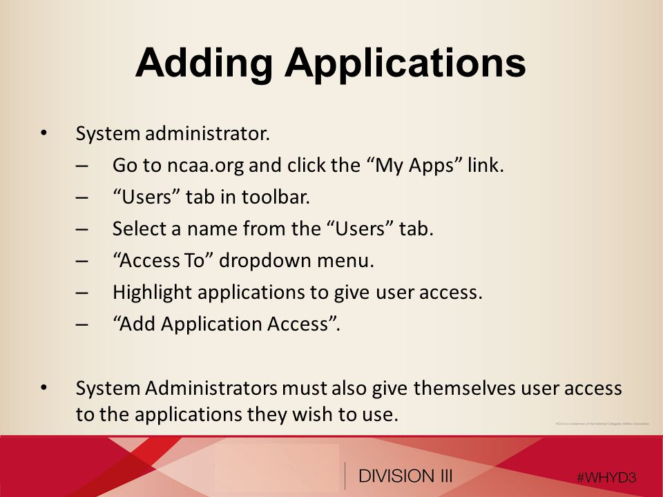 Adding Applications System administrator.