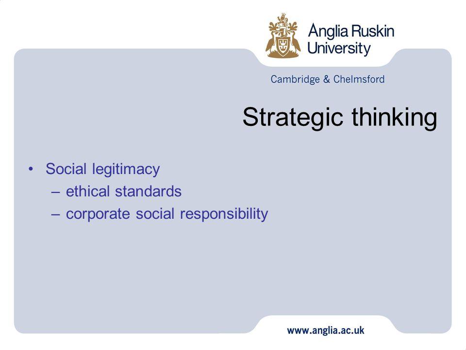 Strategic thinking Social legitimacy ethical standards