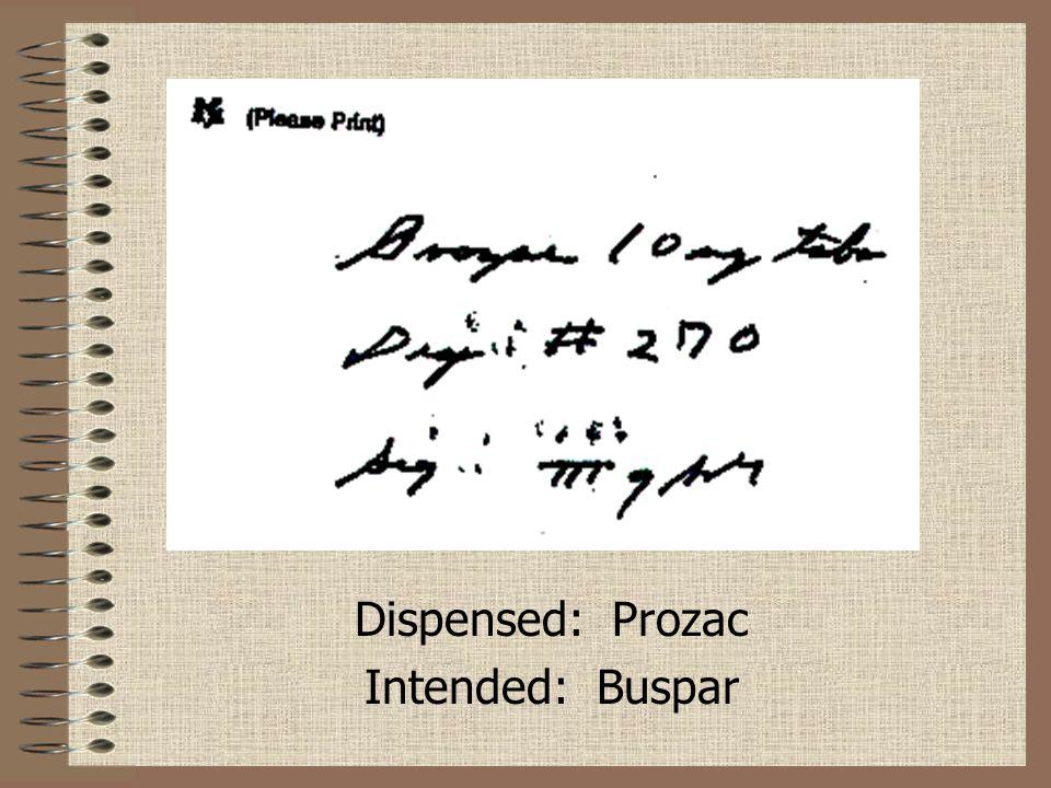 Dispensed: Prozac Intended: Buspar