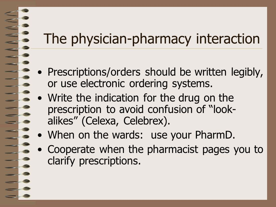 The physician-pharmacy interaction