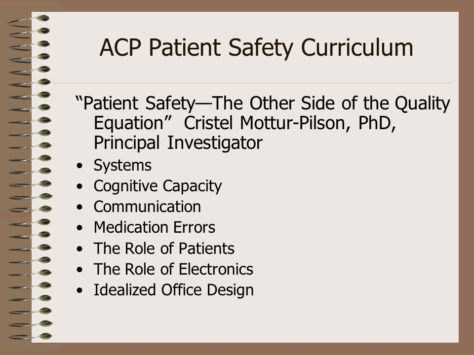 ACP Patient Safety Curriculum