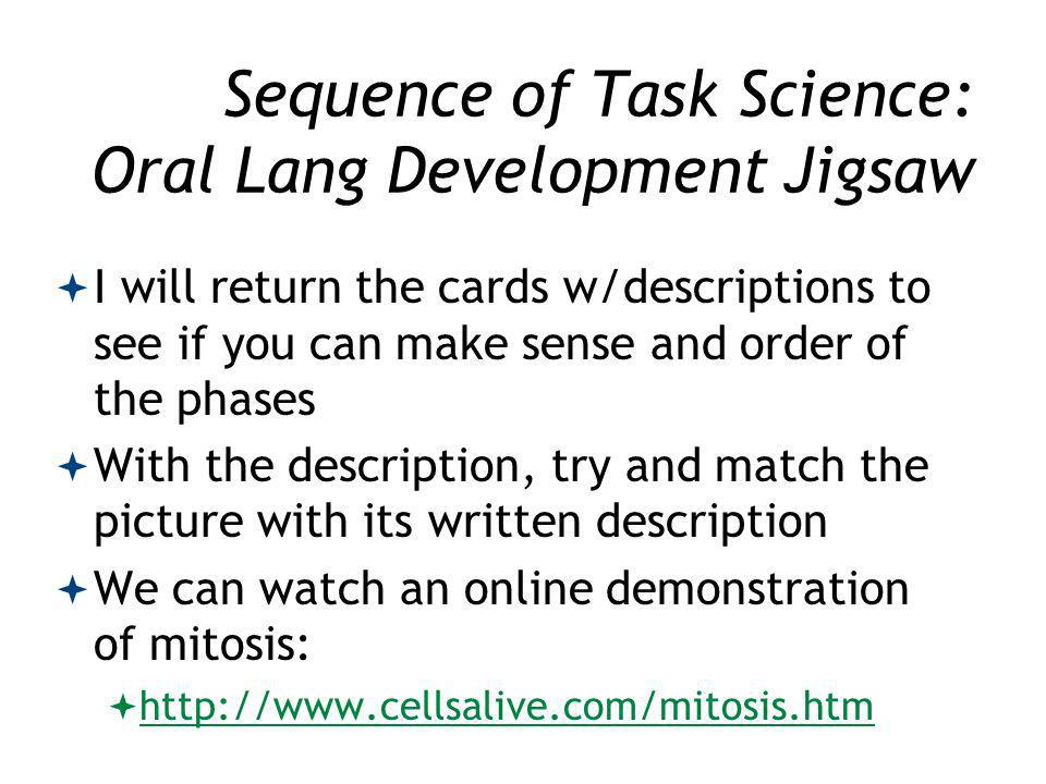 Sequence of Task Science: Oral Lang Development Jigsaw