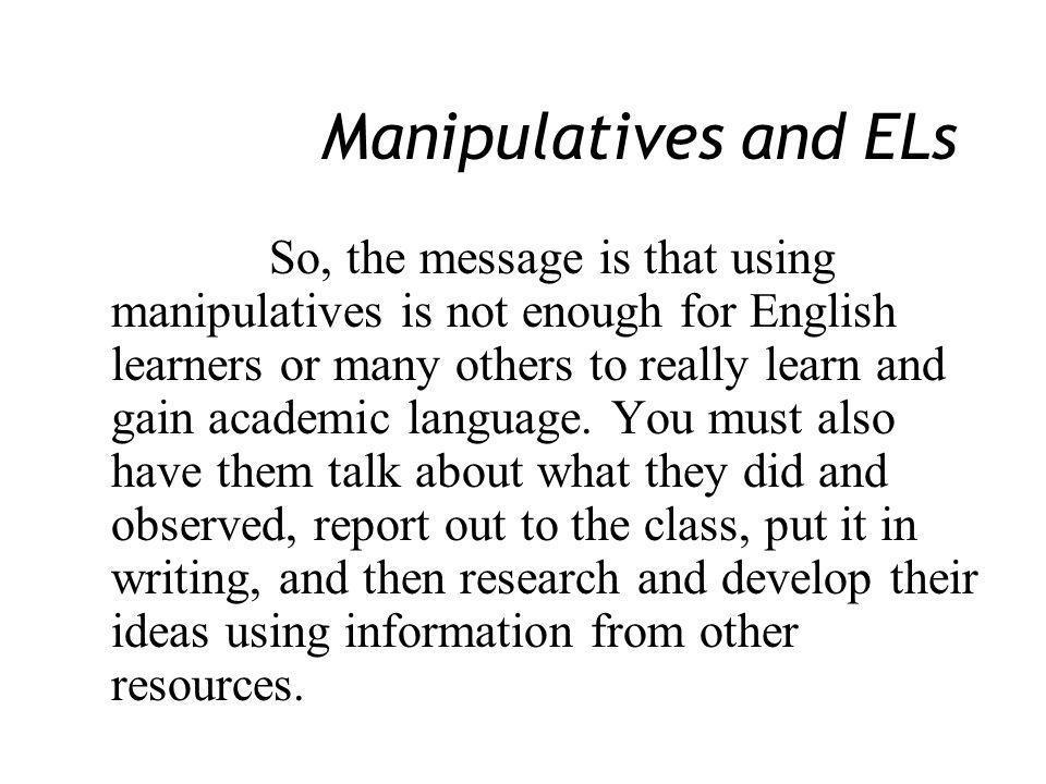 Manipulatives and ELs