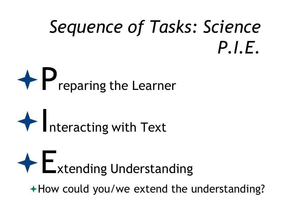 Sequence of Tasks: Science P.I.E.