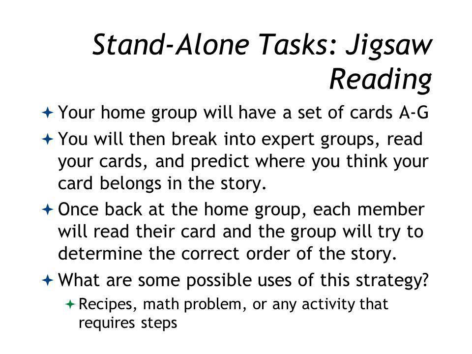 Stand-Alone Tasks: Jigsaw Reading