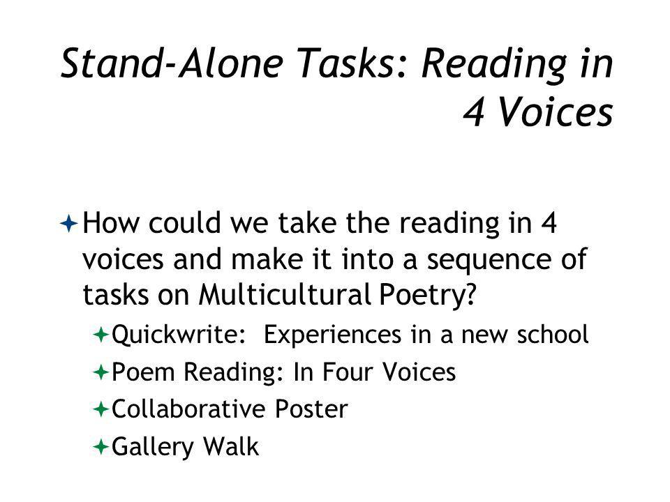 Stand-Alone Tasks: Reading in 4 Voices