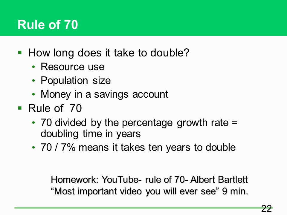 Rule of 70 How long does it take to double Rule of 70 Resource use