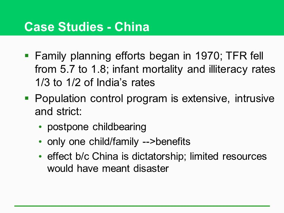 chinas population control cast study The case of  population growth a threat to china's national security and global  ambi-  china's defence research, for the past 25 years song has avoided.