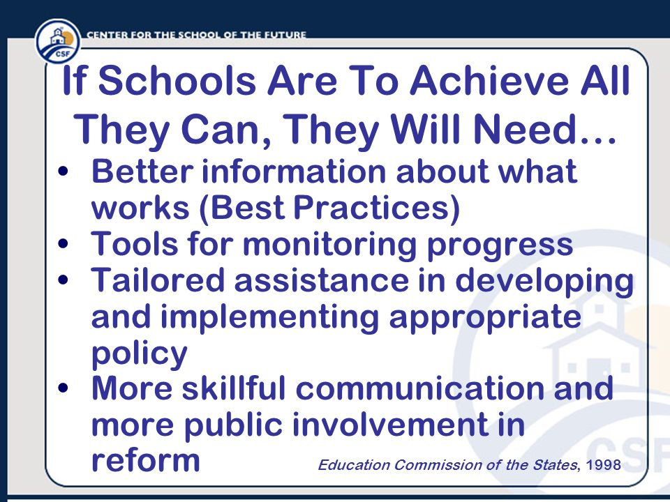If Schools Are To Achieve All They Can, They Will Need…
