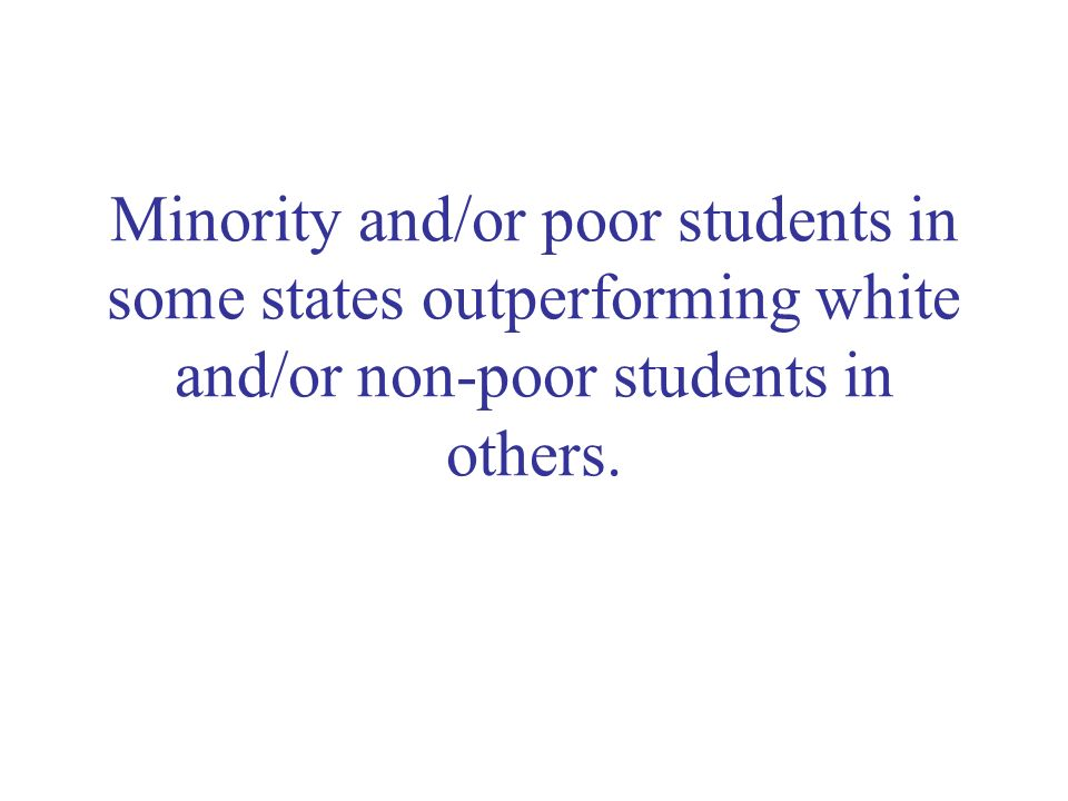 Minority and/or poor students in some states outperforming white and/or non-poor students in others.