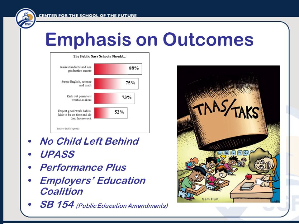 Emphasis on Outcomes No Child Left Behind UPASS Performance Plus