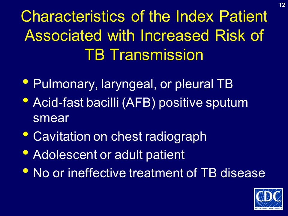 12 Characteristics of the Index Patient Associated with Increased Risk of TB Transmission. Pulmonary, laryngeal, or pleural TB.