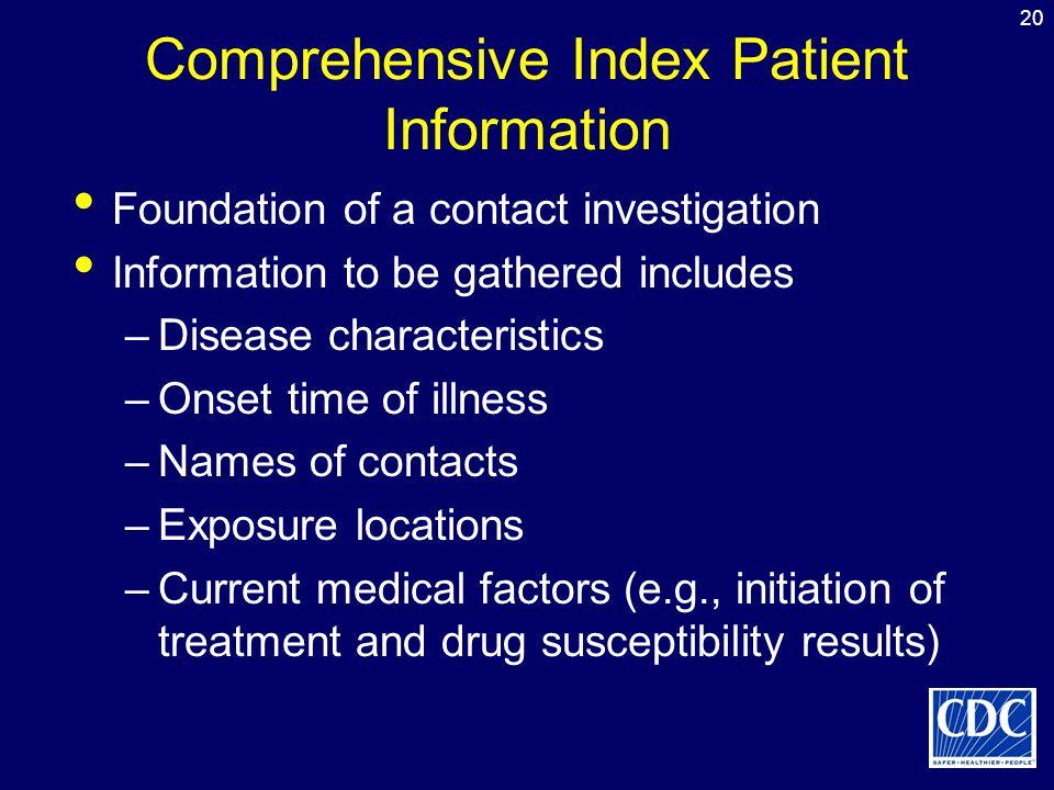 Comprehensive Index Patient Information