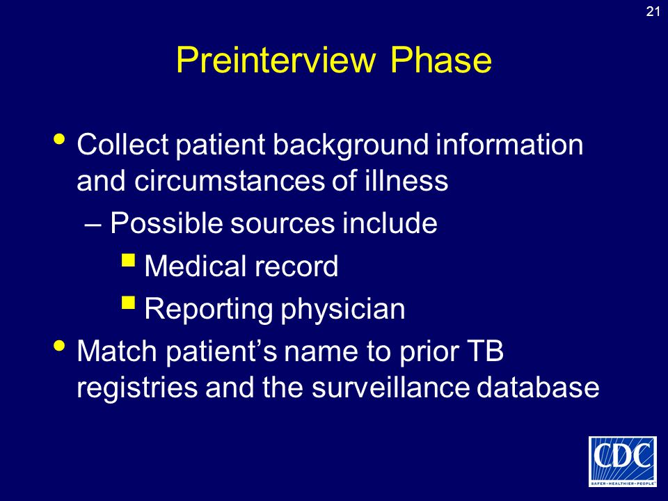 Preinterview Phase Collect patient background information and circumstances of illness. Possible sources include.