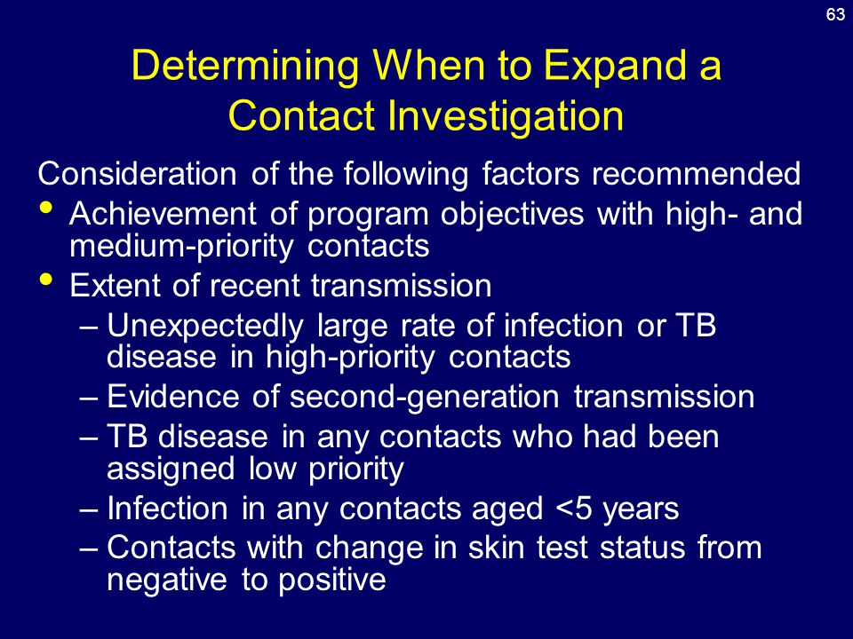 Determining When to Expand a Contact Investigation