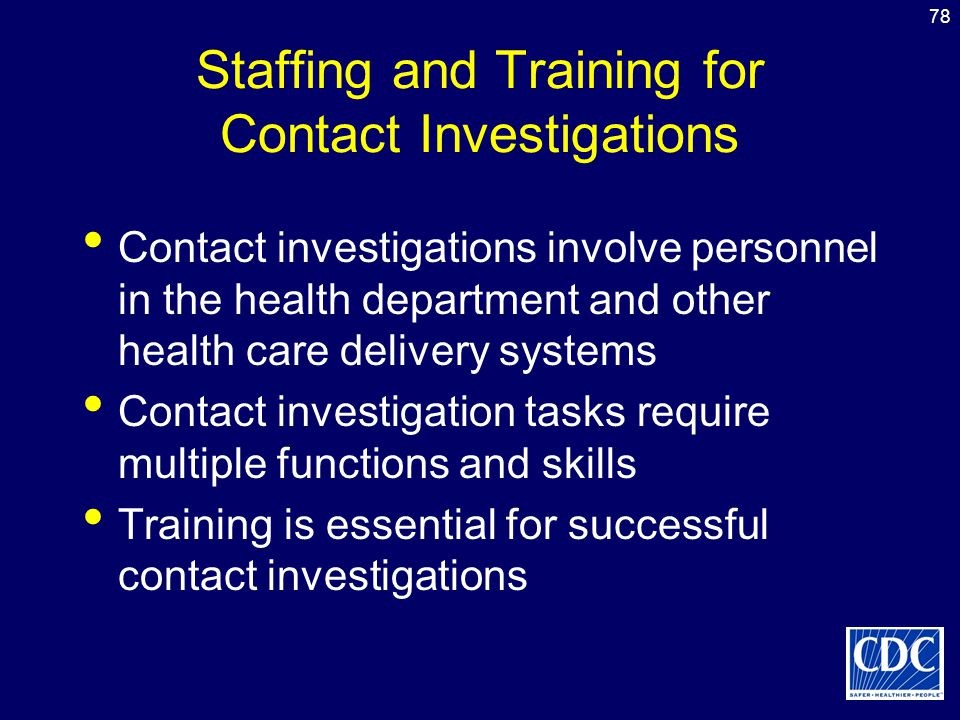 Staffing and Training for Contact Investigations