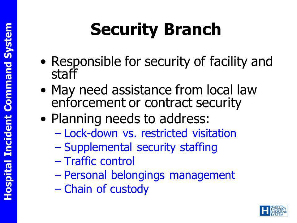 Security Branch Responsible for security of facility and staff