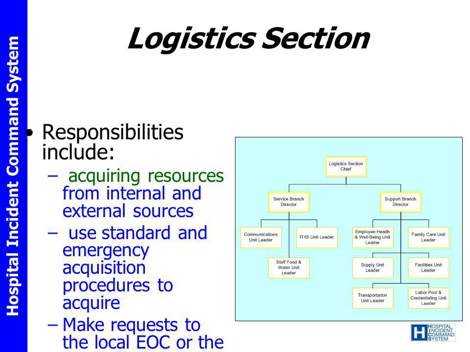 Logistics Section Responsibilities include: