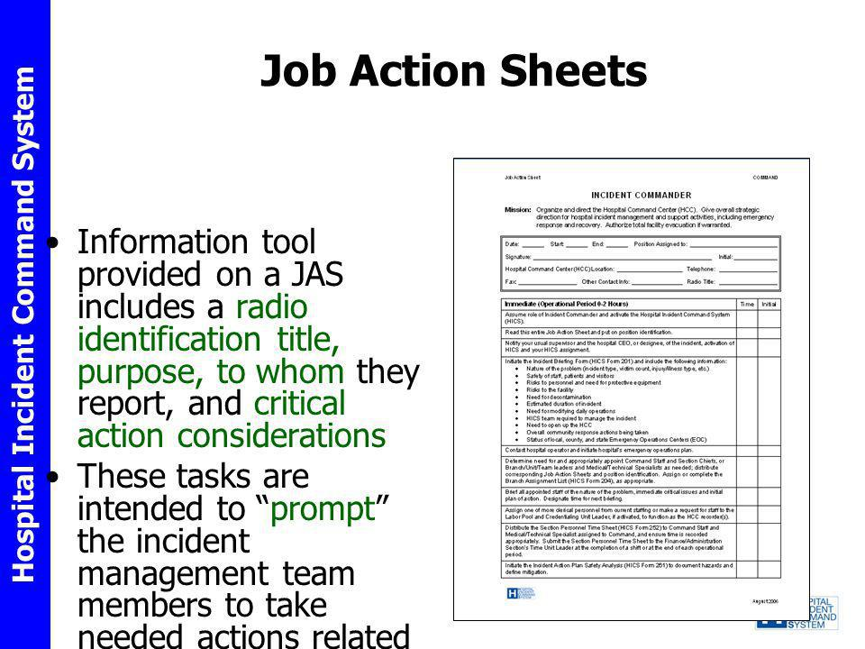 Job Action Sheets