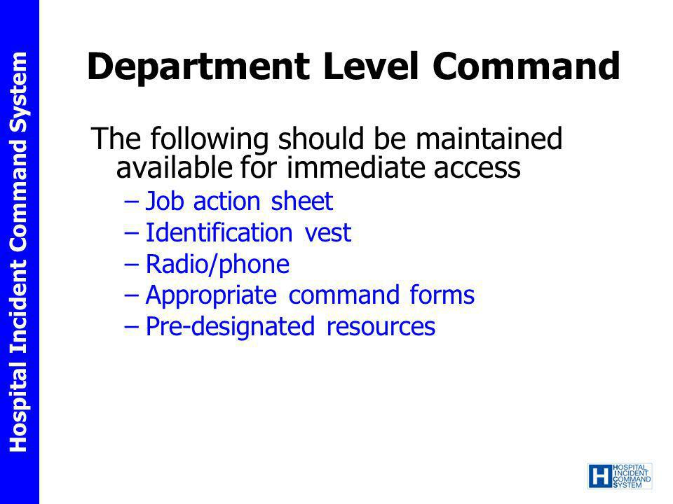 Department Level Command