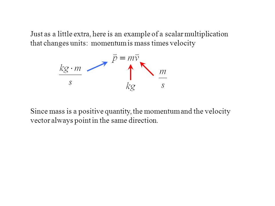 Just as a little extra, here is an example of a scalar multiplication that changes units: momentum is mass times velocity