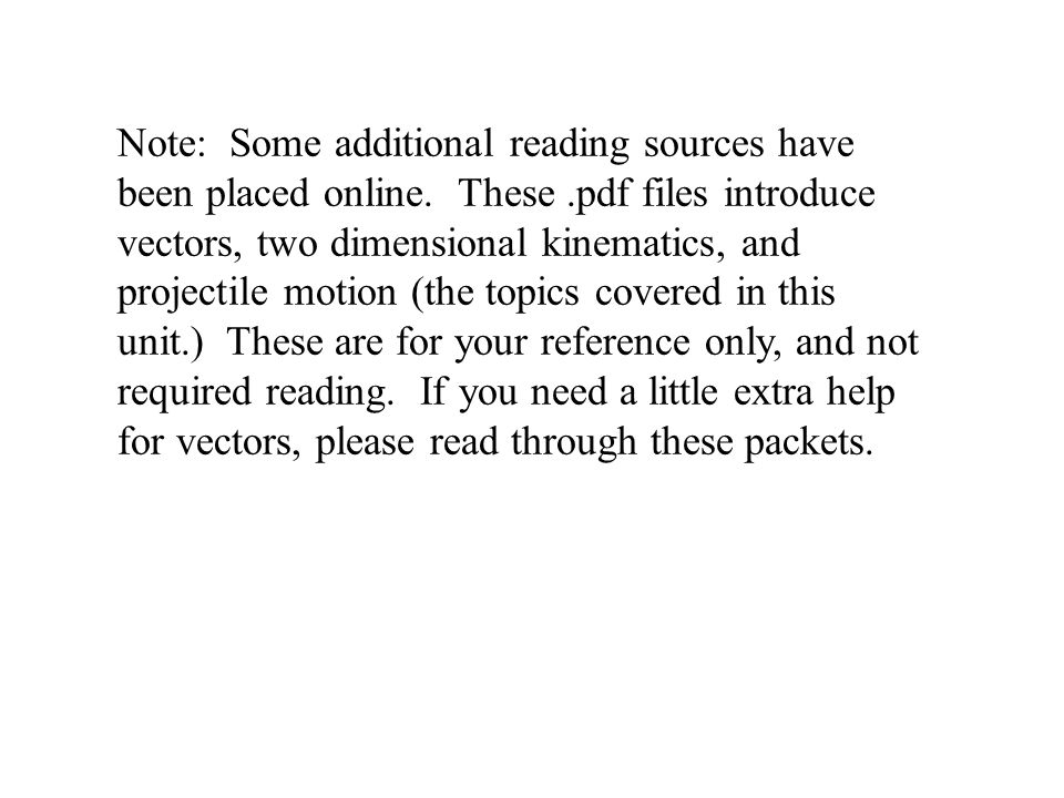 Note: Some additional reading sources have been placed online. These