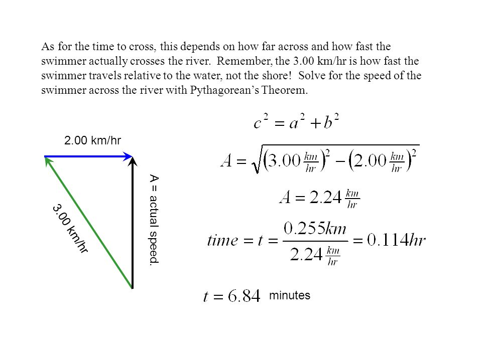 As for the time to cross, this depends on how far across and how fast the swimmer actually crosses the river. Remember, the 3.00 km/hr is how fast the swimmer travels relative to the water, not the shore! Solve for the speed of the swimmer across the river with Pythagorean's Theorem.