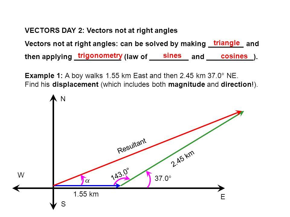 VECTORS DAY 2: Vectors not at right angles