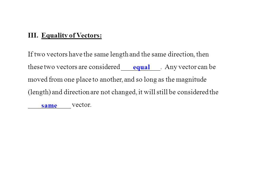 III. Equality of Vectors: