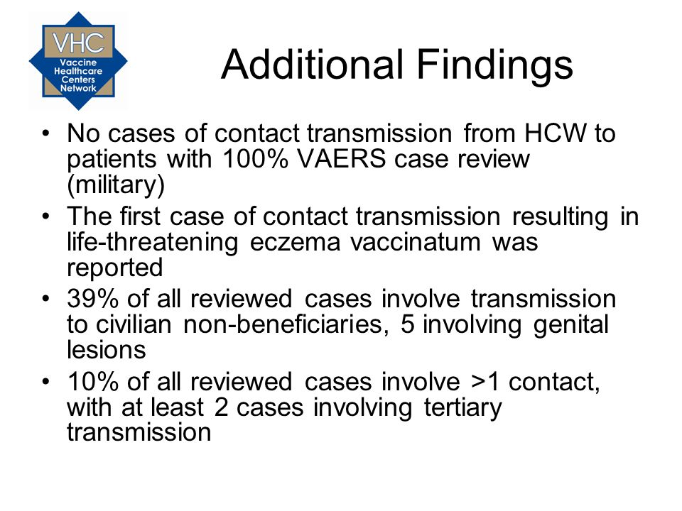 Additional Findings No cases of contact transmission from HCW to patients with 100% VAERS case review (military)