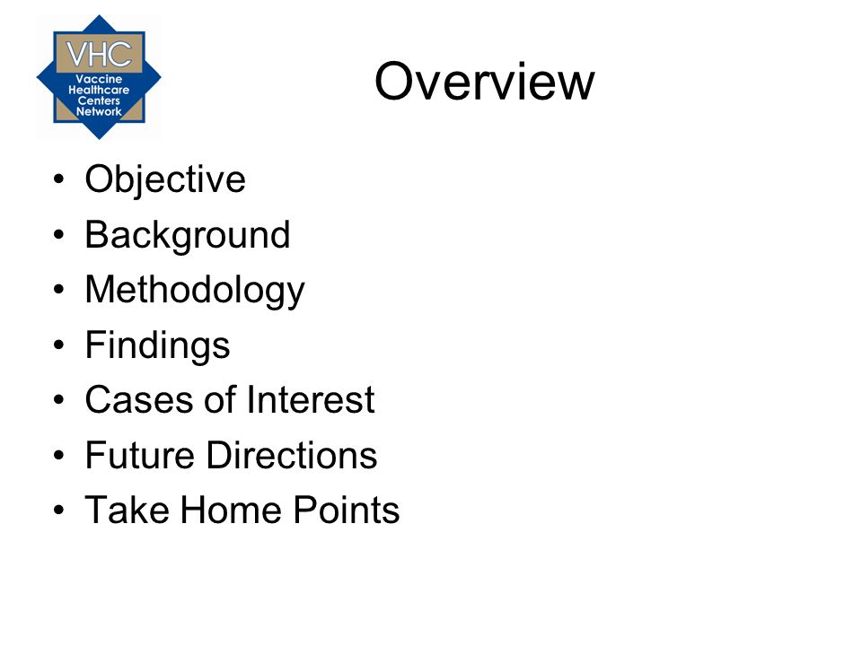 Overview Objective Background Methodology Findings Cases of Interest