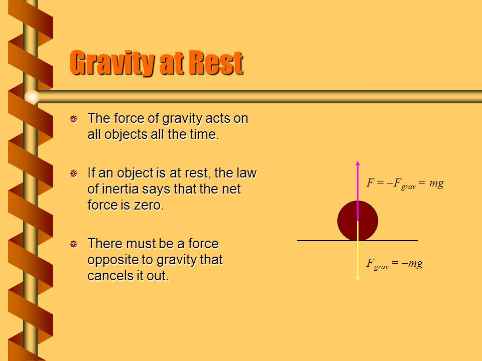 Gravity at Rest The force of gravity acts on all objects all the time.