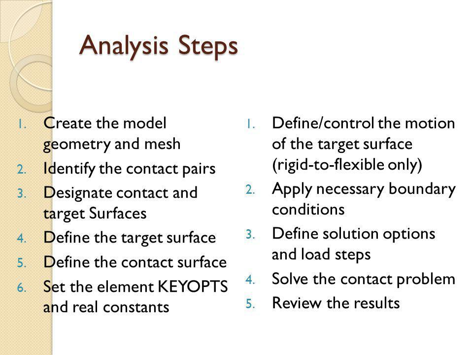Analysis Steps Create the model geometry and mesh