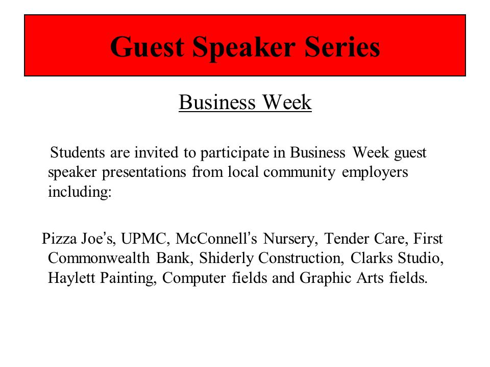 Guest Speaker Series Business Week