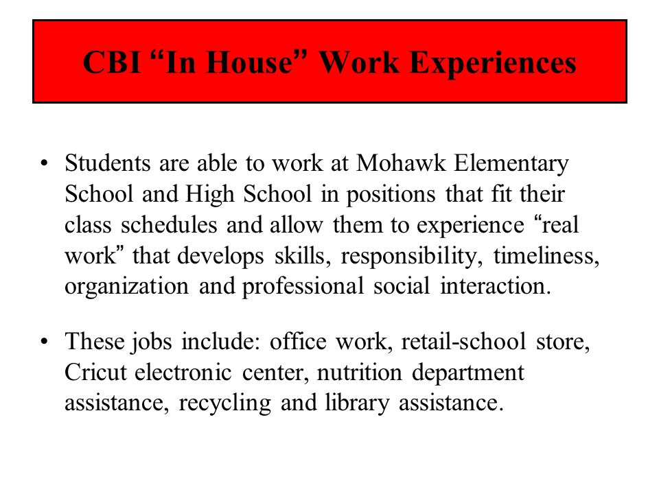 CBI In House Work Experiences