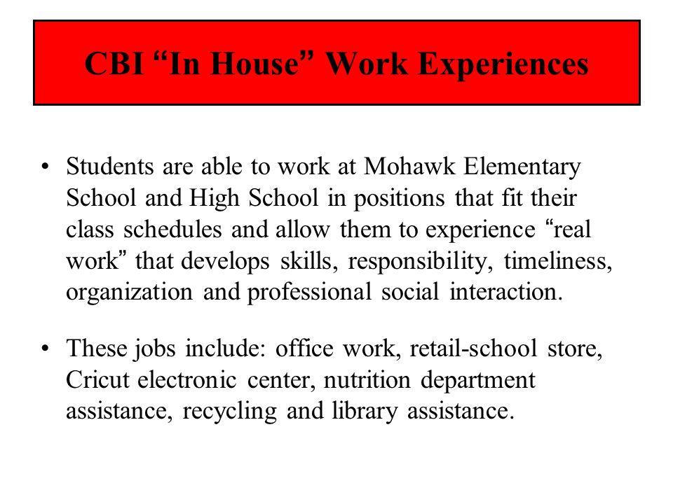 CBI In House Work Experiences