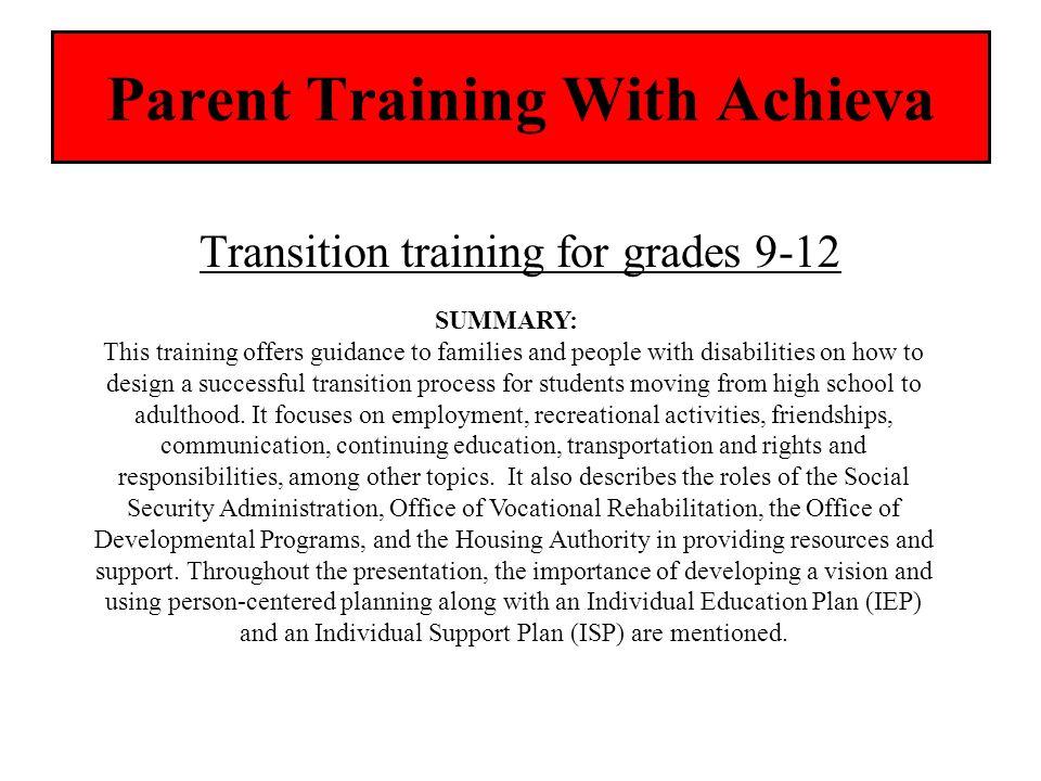 Parent Training With Achieva