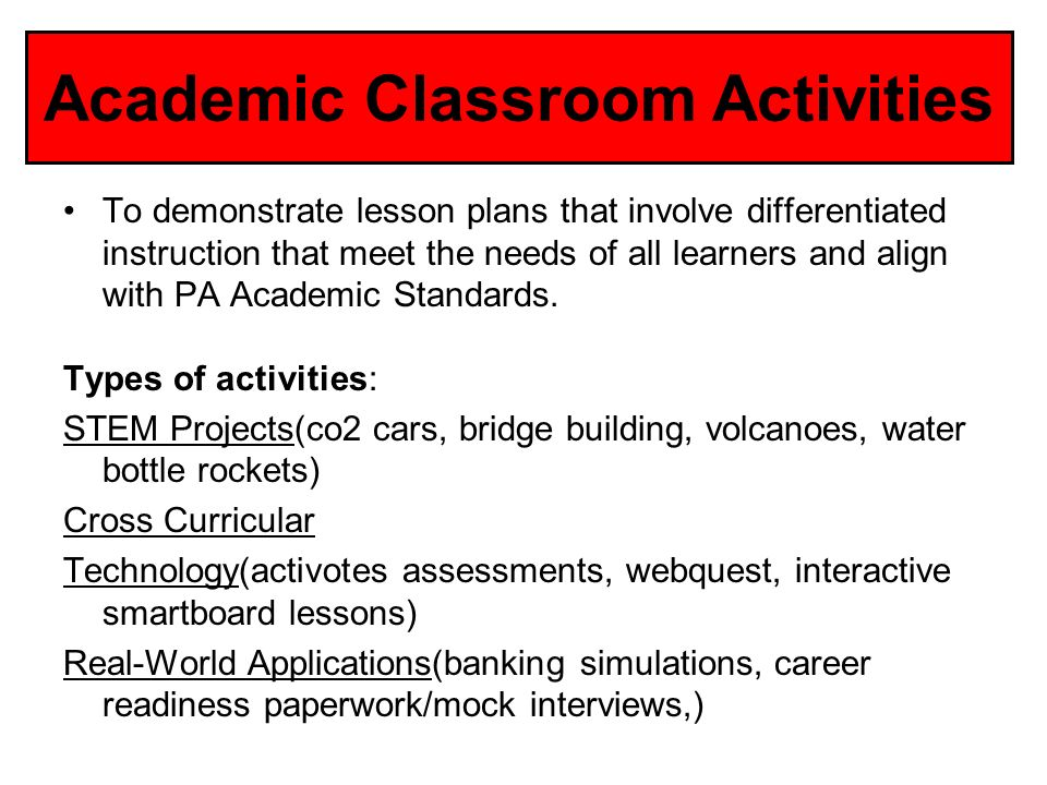 Academic Classroom Activities