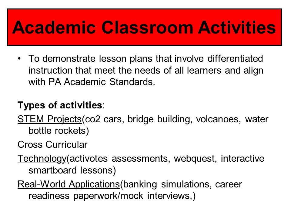 Academic Classroom Activities
