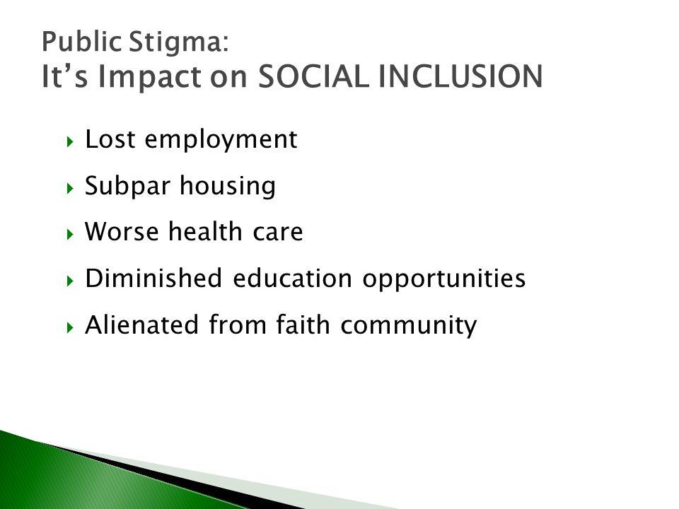 Public Stigma: It's Impact on SOCIAL INCLUSION