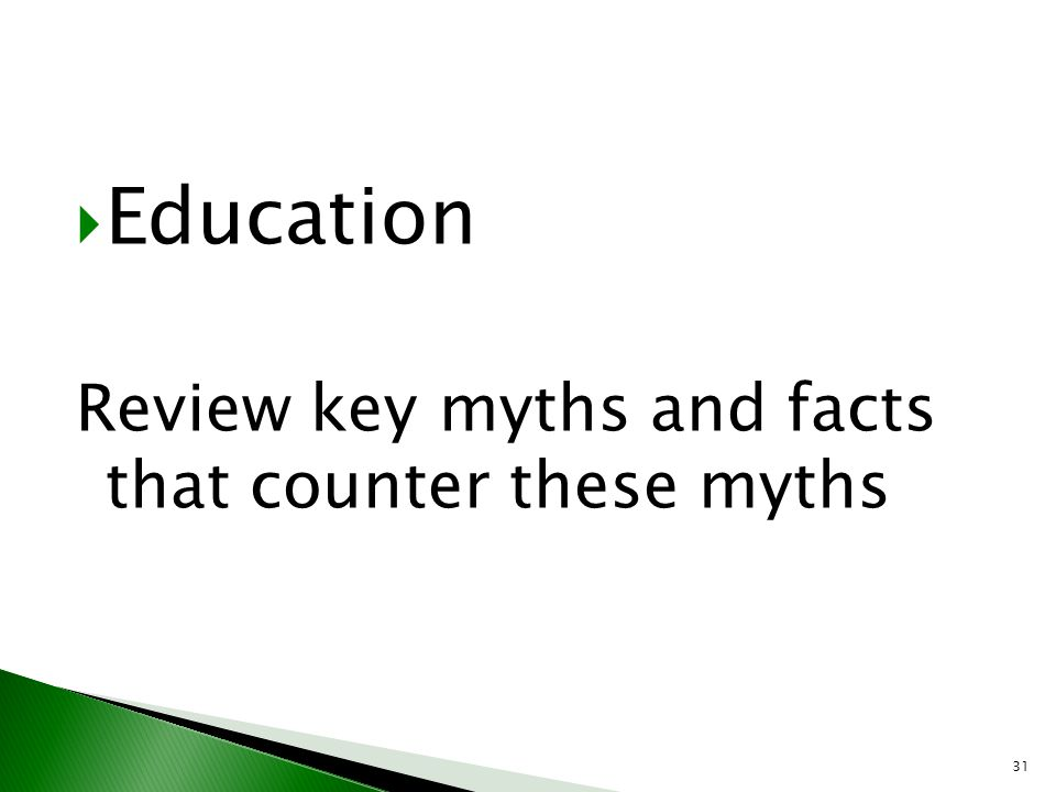 Education Review key myths and facts that counter these myths