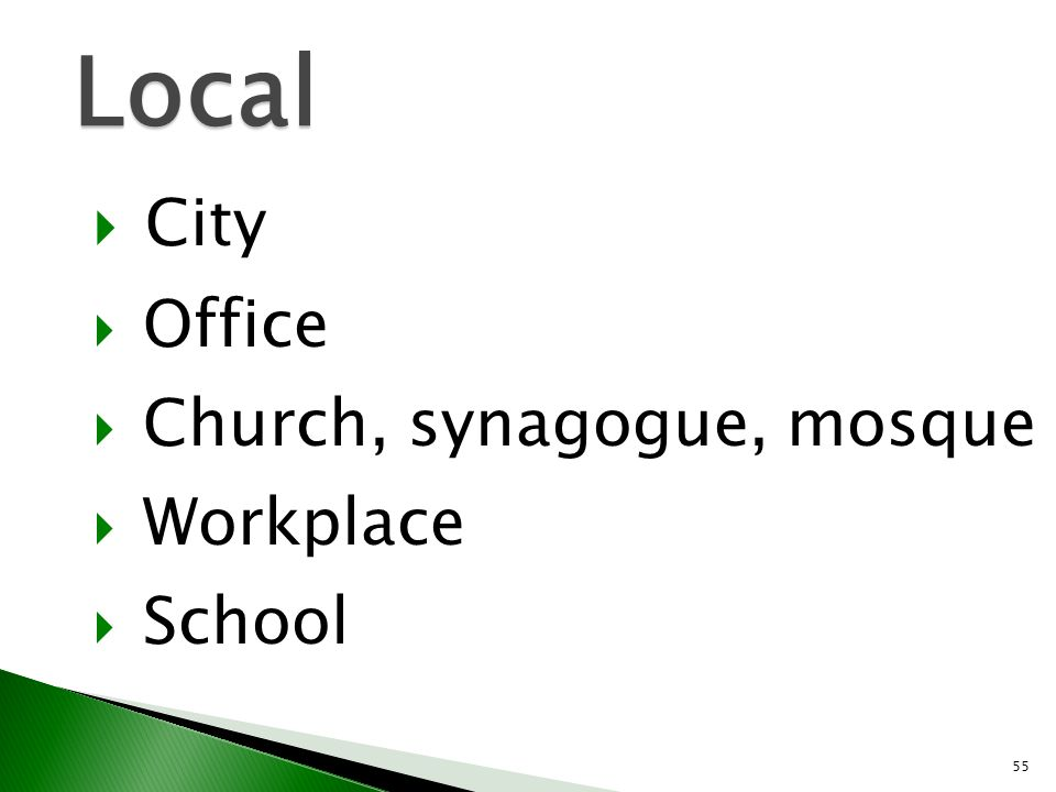 Local City Office Church, synagogue, mosque Workplace School