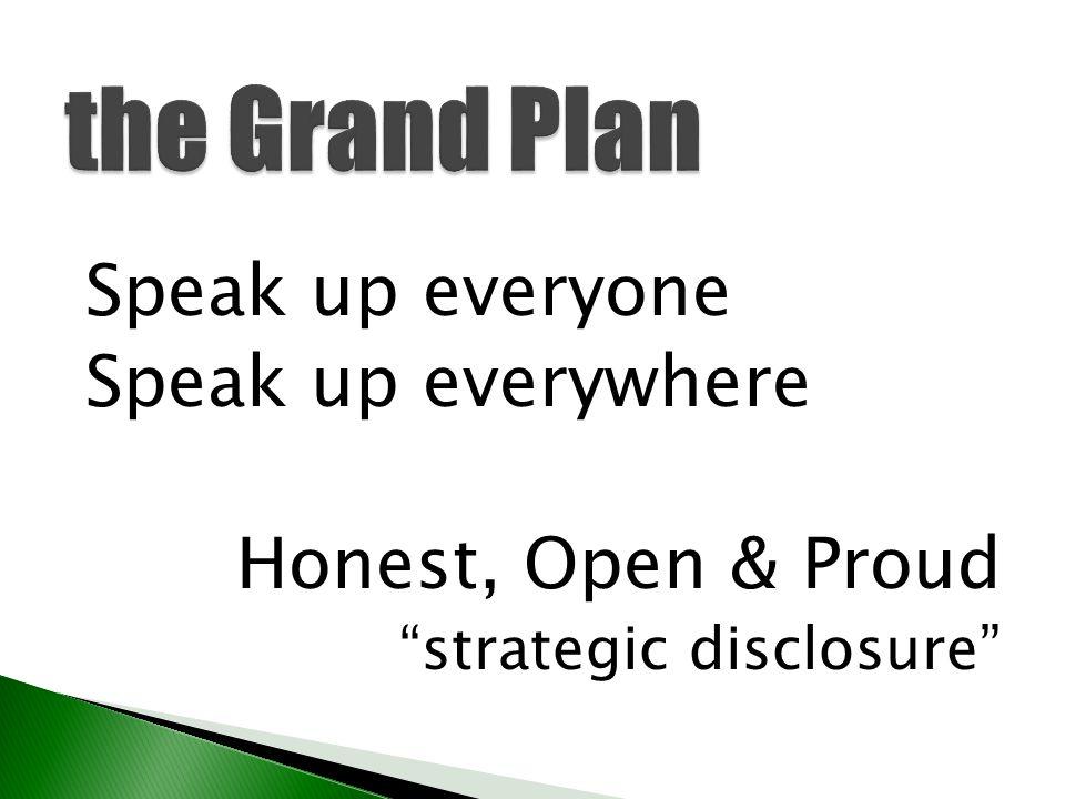the Grand Plan Speak up everyone Speak up everywhere