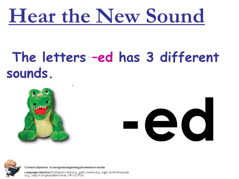 Hear the New Sound -ed The letters –ed has 3 different sounds.