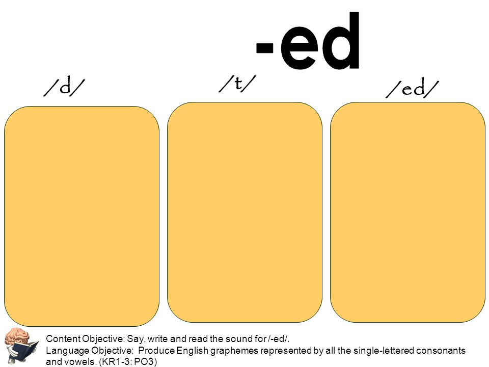 -ed /t/ /d/ /ed/ Content Objective: Say, write and read the sound for /-ed/.