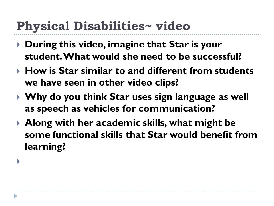 Physical Disabilities~ video