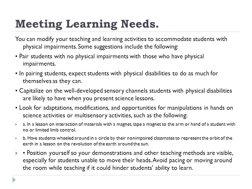 Meeting Learning Needs.