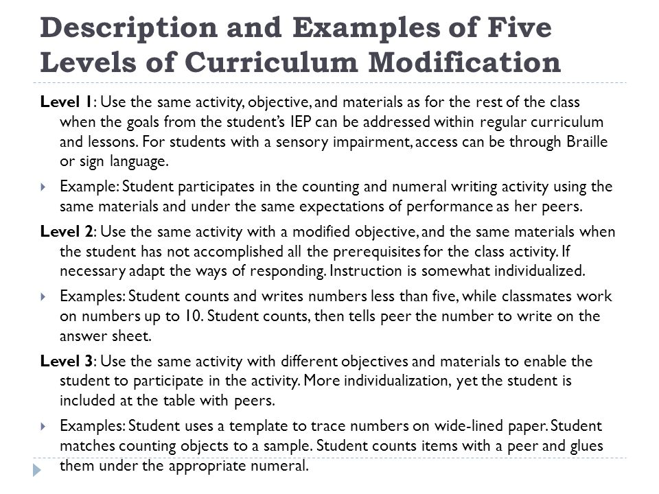 Description and Examples of Five Levels of Curriculum Modification
