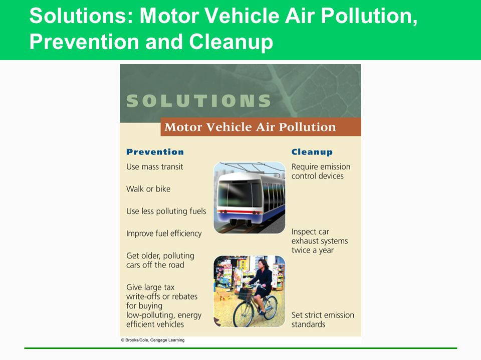 Solutions: Motor Vehicle Air Pollution, Prevention and Cleanup