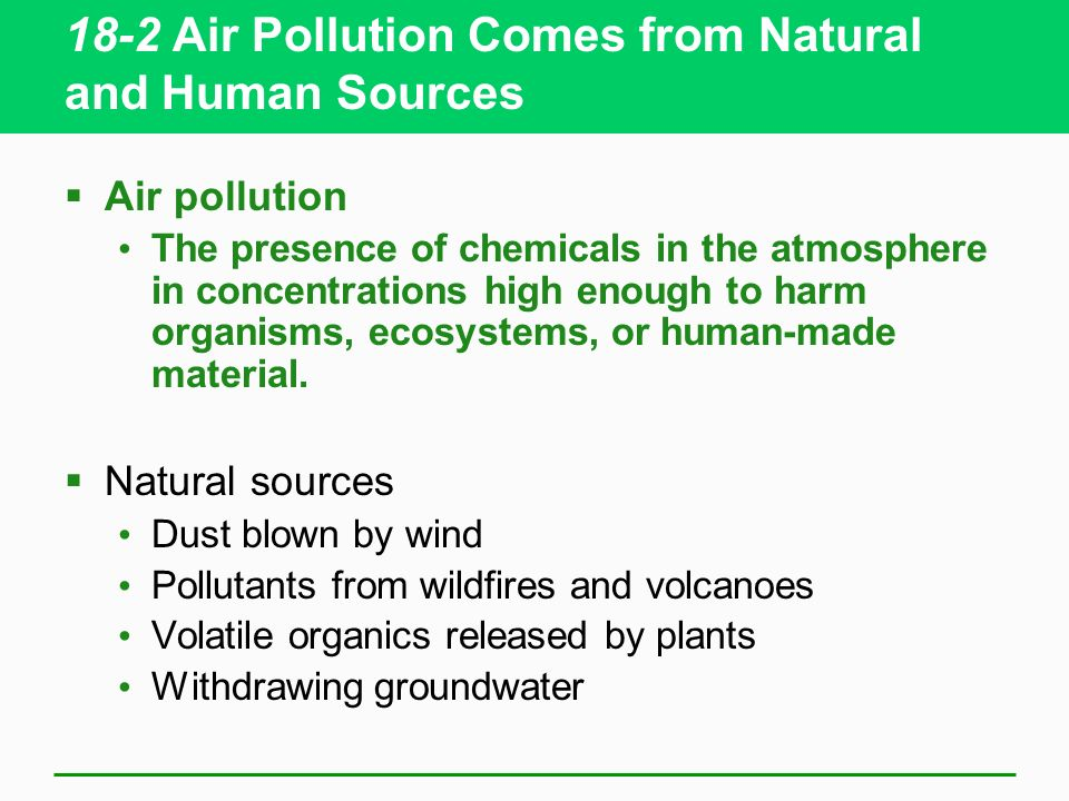 18-2 Air Pollution Comes from Natural and Human Sources